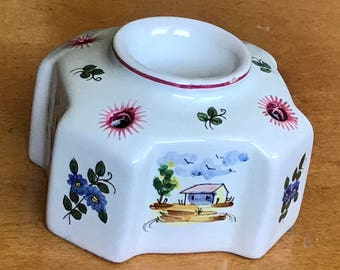 RARE Vintage Inkwell, Marked Perugia, Italy, Hand Painted Pottery & Pen Holder, or use as a Candlestick Holder