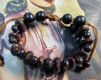 Wood/Seed Adjustable Macrame Bracelet