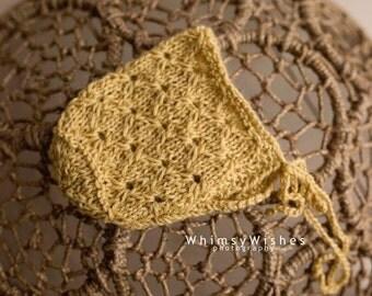 Newborn knit baby bonnet,Baby yellow bonnet, Lace Knit  newborn bonnet