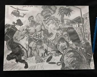 Original Incredible Hulk Destruction Scene Drawing By Jordan Kimpton, movie