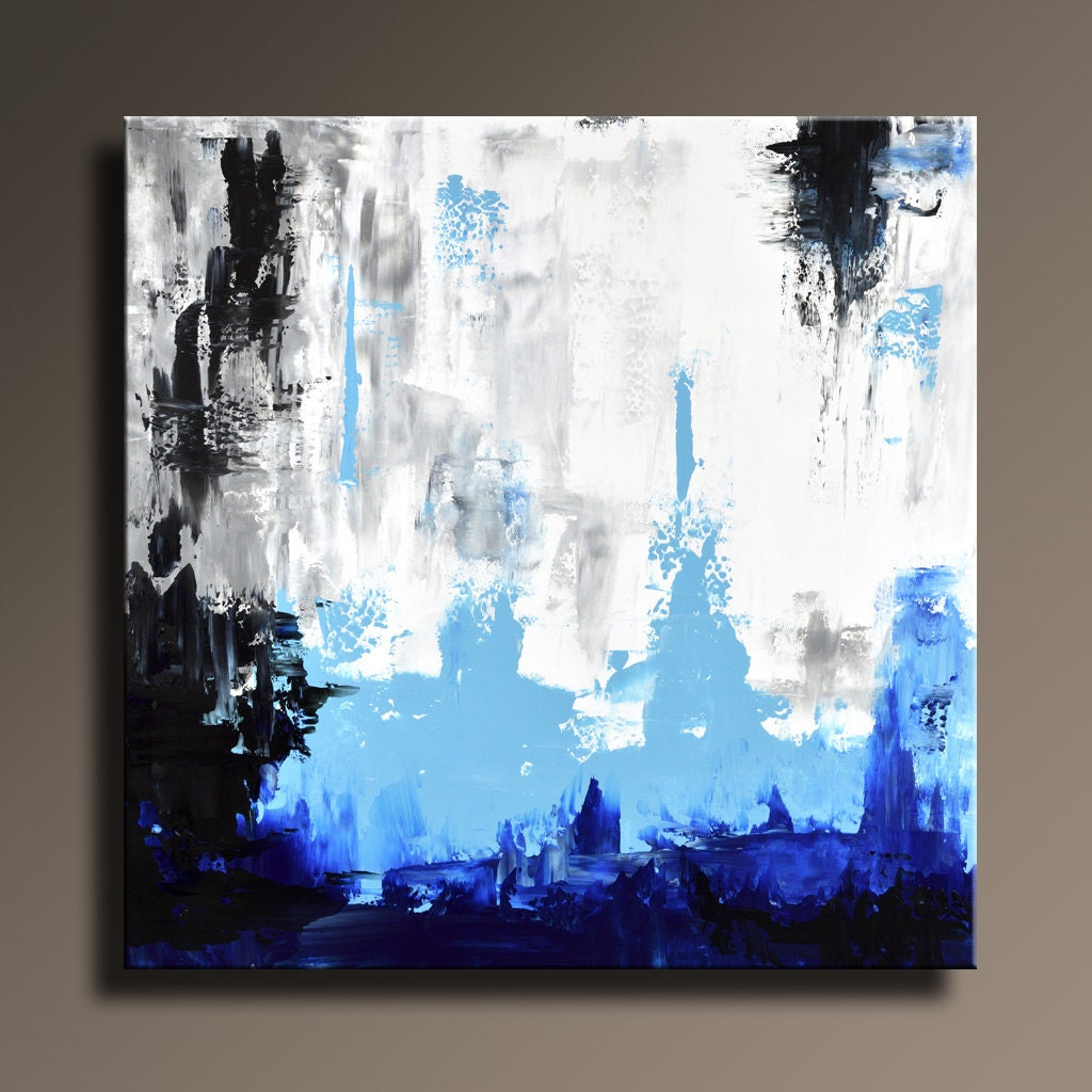 Original abstract painting 36 white gray blue black - Blanco y negro paint ...