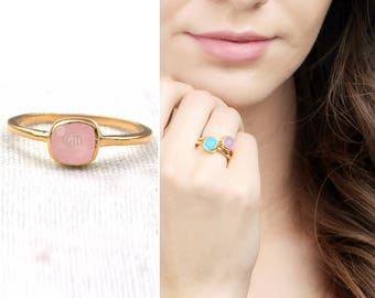 45% OFF Rose chalcedony single stone ring, 6mm cushion gemstone ring, gold plated solitaire ring (GPRC-12008)