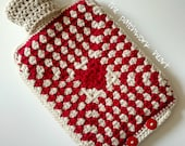 Hot Water Bottle 2L with removable crocheted cover