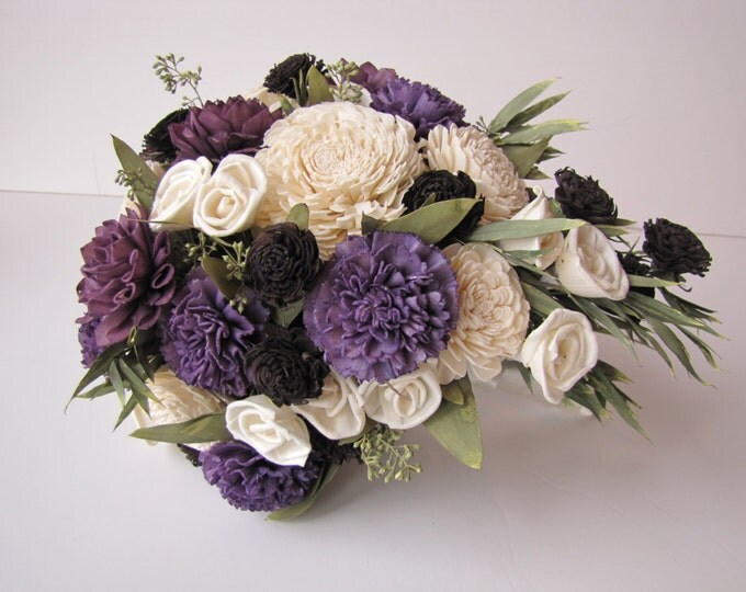 Purple, Ivory and Black Teardrop Bridal Bouquet - Mini Cascading Bouquet - Bridal Bouquet - Teardrop Bridal Bouquet - Keepsake Bouquet