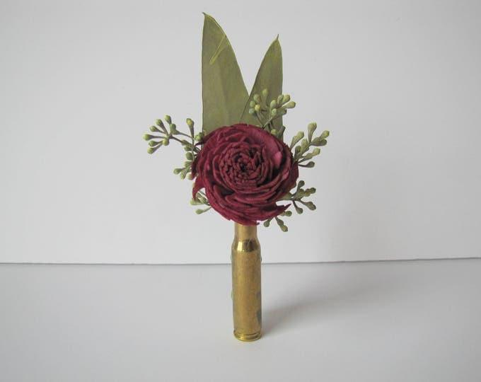 CLEARANCE ITEM - Burgundy Bullet Casing Boutonniere - Wine Color Boutonniere - Keepsake Boutonniere - Aubergine Bullet Boutonniere