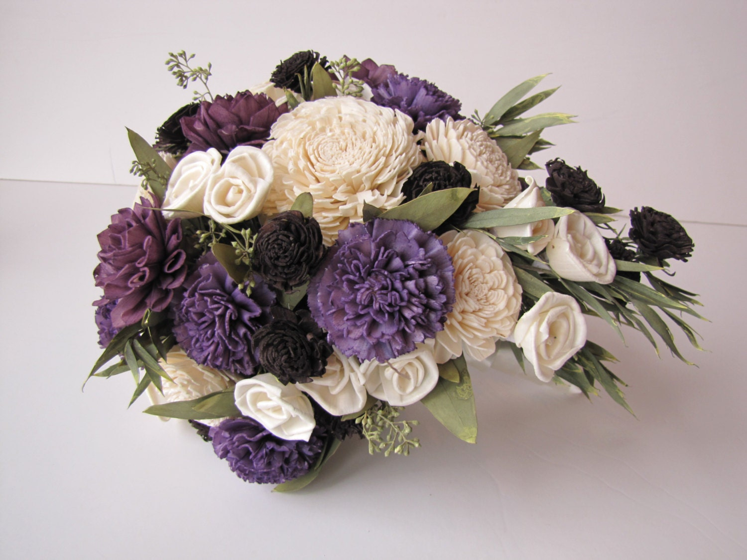 Bridal Bouquet Estimates : Purple ivory and black teardrop bridal bouquet mini
