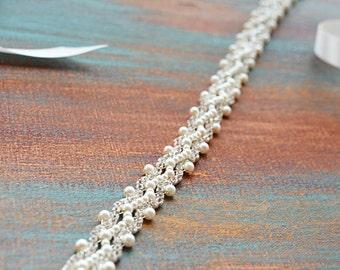 Wedding Belt Pearl, Bridal Belt Sash, Pearl Bridal Sash, Wedding Dress Sash, Pearl and Rhinestone Bridal Sash, Wedding Dress Accessories