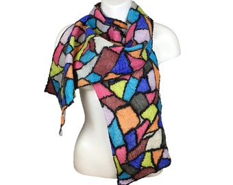 Stained glass effect nuno felted scarf, merino wool and silk