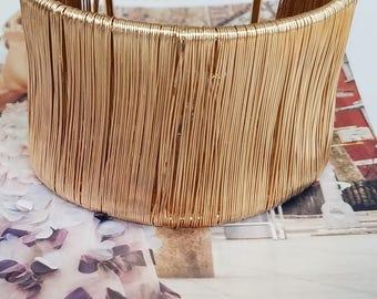 Vintage Wide Bright Goldtone Metal Wire Cuff Bracelet