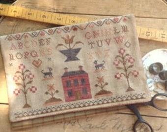 Primitive Cross Stitch - Schoolgirl Sampler - Choose Pattern Only or Pattern w/Floss Kit