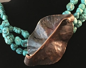 "turquoise copper necklace, free-form copper sculpture, one of a kind, original, multi-strand, 25.5"" long"