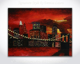 New York Sunset Brooklyn Bridge ORIGINAL Painting - Abstract Red Wall Decor Art Acrylic Cityscape Painting 16x12 Canvas by Denisa Laura