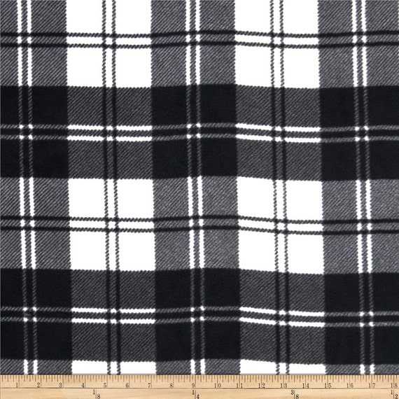 winterfleece plaid black and ivory anti pill fleece one yard from creativesewingneedle on etsy. Black Bedroom Furniture Sets. Home Design Ideas