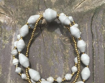 Gray Three Strand Paper Bead Bracelet