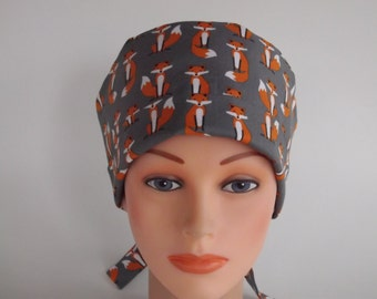 Grey Fox Tie Back - Womens lined Bakers hat, surgical scrub cap, Chemo hat, Nurse surgical hat, 154-620w