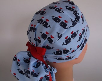 Blue Sweetheart Whales Ponytail - Womens lined surgical cap, Chefs hat, Nurse surgical hat, 132-4310 W