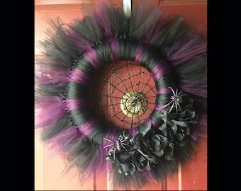 Purple and Black Spiderweb Spider Wreath Halloween