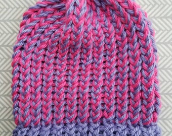 COMFY COZY Newborn Girl Beanie in Hot Pink and Lavender