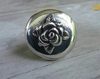 Large sterling silver cameo rose ring alternative steampunk gothic art nouveau victorian