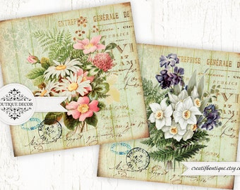 Vintage coasters. Set of 2 pics 4x4 inch. Digital collage sheet for scrapbooking or packaging.