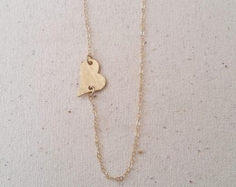 Sideways Heart Necklace - Sterling, gold fill, rose gold fill