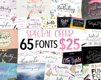 Script Font bundle - 65 Calligraphy fonts including hand lettered fonts. Digital fonts which can be used for photography logo designs