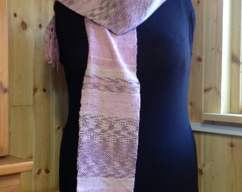 Hand-woven Scarf in Pink, Beige & Brown