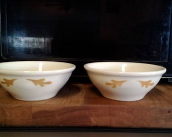 Mayer china, 2 dessert bowls, oak leaf pattern