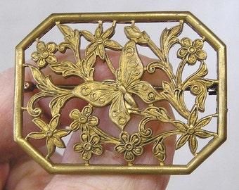 Vintage Jewelry Brooch Openwork Butterfly Among Flowers
