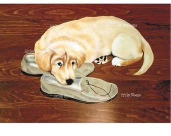 Golden Retriever - Golden Retriever Art - Golden Retriever Print - Golden Retriever Puppy - Pet Portrait - Dog Portrait - Weeze Mace