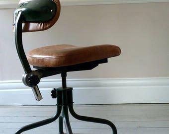 Vintage Industrial Leather Desk Chair c. 1960