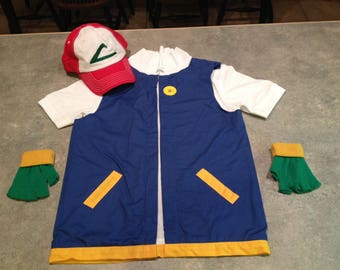 Boy's 8  POKEMON Trainer - ASH Ketchum  Costume  -  Cosplay