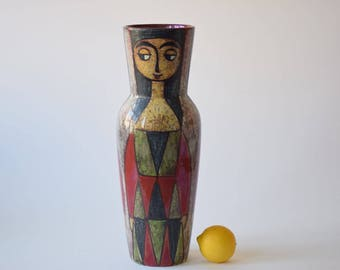 Rare & Huge! Marianne Starck for Michael Andersen MAS - tall vase - Girl Motif - Persia - no 5703-1 - Danish midcentury pottery