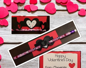 Valentine Card with pencil holder digital file (.png and .jpg)