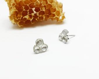 Sterling silver Honeycomb earrings, Studs, Beehive Jewelry, Woodland Jewelry, Honeybee Jewelry, Handmade Jewelry