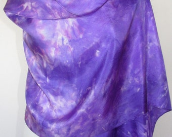 Hand Painted Pure Silk Shawl Wrap- Purple
