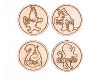 4 pc. Wood Coasters: Hogwarts Houses