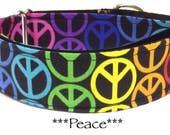 Martingale Dog Collar, Dog Collar, Adjustable Dog Collar, Buckle Dog Collar, Peace Signs, Rainbow, Colorful, Hippy, Peace