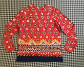 1970's, ornate, floral print, top, in red, with navy, mustard, grey and white, Women's size Small/Medium
