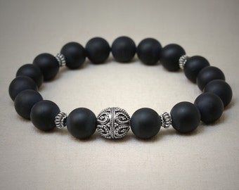 Matte onyx and focal Bali sterling silver bead bracelet