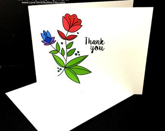 Thank You Card, Customer Thank You, Floral Thank You Greeting Card, Thank You Note, Fresh and Fun