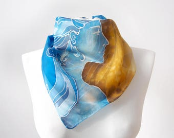 Lion scarf - square scarves hand painted on silk - yellow and blue scarf - ice queen - Art Nouveau pocket scarf or neck scarves