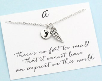 In Memory of a Child . Angel Wings . Baby Footprint . Infant Memorial Charm . Sterling Silver . ALSO IN GOLD