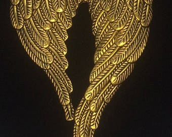 4 Pieces Large angel wing charms, large angel wing, curved double angel wing charm 68x47mm antique gold finish 31-6-G