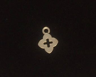 24 pieces tiny cross charm, tiny cut out cross charms, small silver cross charm 13x10mm antique silver finish 35-3-AS