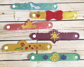 Princess inspired bracelets, princess party, birthday party favors, dress up, belle, aurora, ariel, cinderella, snow white, rapunzel