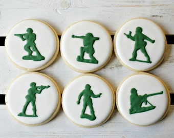 Toy Soldier Army Men Silhouette Cookies - 1 Dozen Toy Story Cookies Solider Cookies Army Cookies