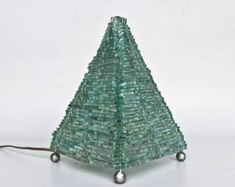 Vintage Handmade Glass Pyramid  Table Lamp / Bedside Lamp