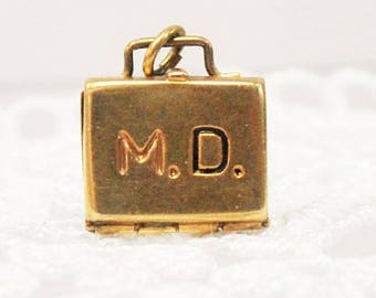 Vintage Doctors Bag Charm - 14 karat yellow gold