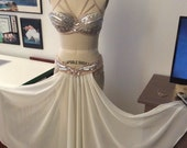 Tear away panel skirt, 2 panels, shaped belt